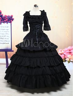 Victorian dress Costume- Lolita Victorian Black Ruffled Cotton Floor Length Long Dress $132.99  #victoriancostume