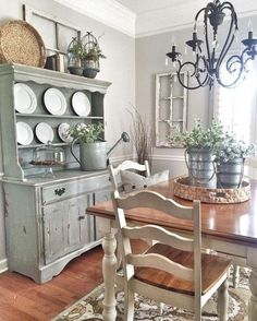 SAGE GREEN Painted Hutch, White And Natural Table And Chairs, Timber  Floors, Black