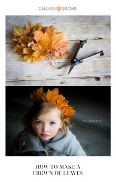 Why not celebrate the fall season by making asuper-easy crown of leaves  to adorn your favorite noggin? These are perfect for play or a DIY photo  prop and the best part is that there is no wire or tape involved.