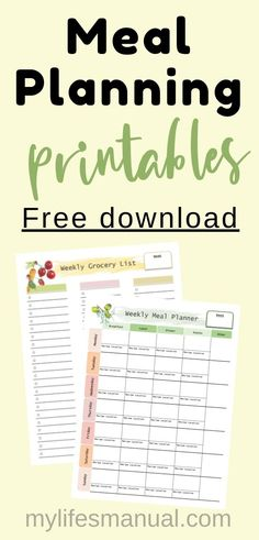 Free Weekly Meal Planner with a Grocery List, Instant Pot Recipes and a Simple Meal Planning PDF Guide