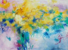 """Bold Abstract Floral """"Chin Up Buttercup"""" 40x30 Kerri Blackman https://www.etsy.com/listing/238001284/abstract-floral-acrylic-painting-bold?ref=shop_home_active_1 #yellow #painting #art #abstract expressionist #original"""