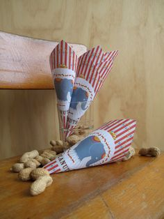 Circus Popcorn Cone on wooden kids stool - yummie party favor!