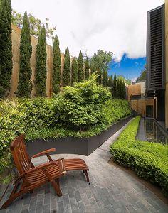 Black-bronze steel walls Pablo Vicens Urban Garden in Madrid. Outdoor Rooms, Outdoor Gardens, Outdoor Living, Outdoor Decor, Privacy Plants, Garden Privacy, Garden Bed, Landscape Architecture, Landscape Design