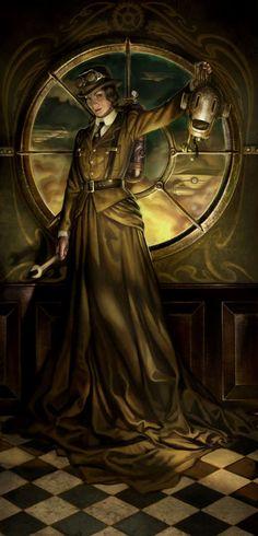A steampunk reinterpretation, by Aly Fell, of Judith Beheading Holofernes.