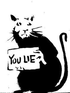 Banksy black and white rat stencil
