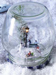 Schneekugel mit Winterlandschaft, ganz einfach zum (Nach-)Dekorieren
