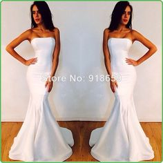 Sexy Designer Fishtail Strapless Long White Mermaid Prom Dresses 2014 Formal Evening Dresses