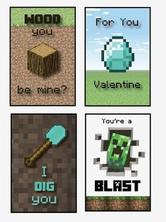 Printable Minecraft Valentines cards DIGITAL by redmorningstudios, $4.99