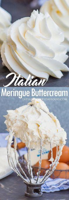 Italian Meringue Buttercream (video) - Tatyanas Everyday Food - Cakes, Desserts & more! Meringue Frosting, Cake Frosting Recipe, Frosting Recipes, Vanilla Frosting, Fluffy Frosting, Cookie Frosting, Meringue Cookie Recipe, Meringue Desserts, Meringue Powder