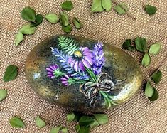 Painted Rock, Purple and Lavender Rock, Garden Rock, Paperweight, Hand Painted Rock, Painted Bouquet