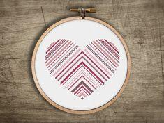 heart cross stitch pattern  striped triangle love  pdf by futska