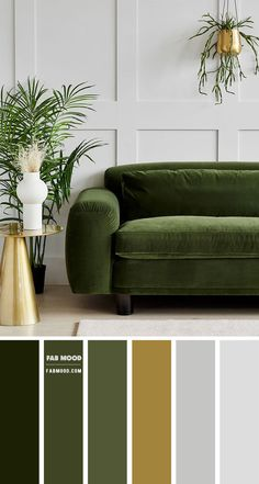 Green and Grey Colour Idea For Living Room, Grey Living Room
