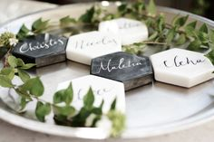 Hexagon, marble, black by Chirography Thank You Cards, Wedding Details, Marble, Place Card Holders, Calligraphy, Invitations, Signs, Inspiration, Black