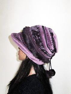 Czapka boho wrzosowy fiolet - annaswito-art-a - Czapki