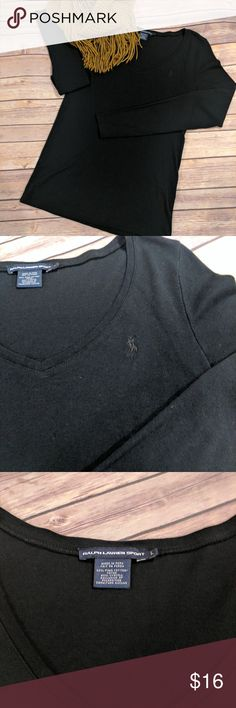Ralph Lauren sport v neck long sleeves Gently wore, no holes, no wear. Black v neck long sleeves from Ralph Lauren sport. Wider neck line that you can wear camisole underneath or just wear with jeans. Size Large. 60% cotton, 40% lyocell. Ralph Lauren Tops Tees - Long Sleeve