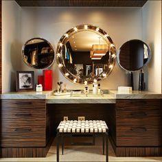 The Dressing Room Closet - contemporary - Bathroom - Los Angeles - Lisa Adams, LA Closet Design Modern Makeup Vanity, Makeup Table Vanity, Vanity Ideas, Makeup Vanities, Vanity Tables, Makeup Desk, Diy Vanity, Mirror Ideas, Vanity Set