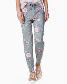 Floral Heathered Jogger Pants   Charming Charlie