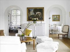 Pretty bright white and light filled Swedish home that has so many great elements. Loving the view from the living room into the dining room and black and white sitting room. The modern kitchen and black and white tile in the bathroom are perfect! Wood Interior Design, Interior Design Inspiration, Interior Design Living Room, Living Room Designs, Living Spaces, Living Rooms, City Living, Design Ideas, Transitional House