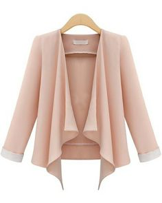 This pink long sleeve casual crop blazer is calling my name. The color alone complements my skin. The flow in the front makes it fun and chic at the same time. this would pair perfectly with a pair of low rise jeans or just a nice pair of cream pants. Cool Outfits, Casual Outfits, Casual Suit, Blazers, Cropped Blazer, Latest Street Fashion, Chic, Passion For Fashion, What To Wear