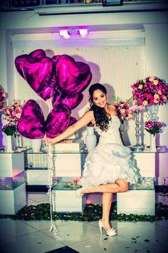 Casamento com balões Flexmetal de coração na cor Pink. Divino!!