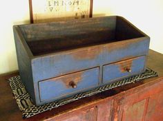 Vintage Antiqued Wooden Chest Trug English Mustard Profit Small Antiques Antique Furniture