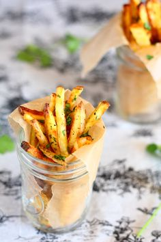 baked garlic cilantro fries -  look good!