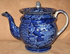 """19TH CENTURY ENOCH WOOD & SONS HISTORICAL BLUE STAFFORDSHIRE TEAPOT LAFAYETTE AT FRANKLIN'S TOMB, 7-3/4"""" HIGH."""