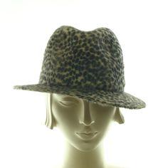 Animal Print Fedora Hat for Women- 1950s Style Beaver Felt Hat by TheMillineryShop