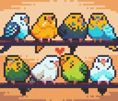 [OC] Let these birds cheer you up! Hama Beads Design, Diy Perler Beads, Perler Bead Art, Cross Stitching, Cross Stitch Embroidery, Cross Stitch Patterns, Arte 8 Bits, Pixel Beads, 8 Bit Art