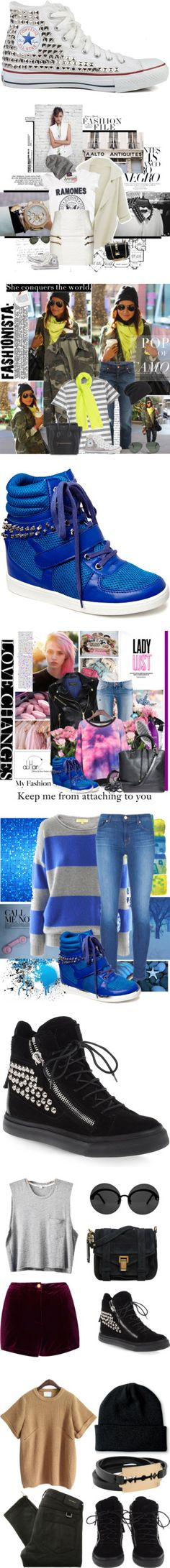 """""""Kick It With Studded High-Top Sneakers"""" by polyvore-editorial on Polyvore"""