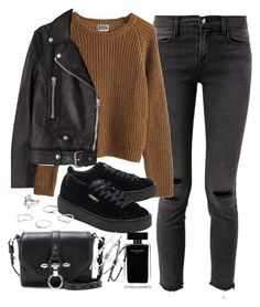 """""""outfit for winter with a leather jacket and puma creepers"""" by ferned on Polyvore featuring J Brand, MTWTFSS Weekday, Acne Studios, Givenchy, Puma, MANGO, Topshop and Narciso Rodriguez"""