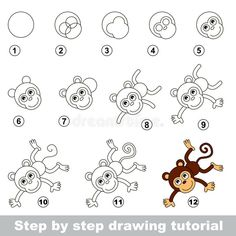 Step by step drawing tutorial. visual game for kids. how to draw a funny monkey Drawing Cartoon Faces, Cartoon Drawings Of Animals, Cartoon Drawing Tutorial, Drawing Tutorials, Drawing Tips, Drawing Ideas, Drawing Animals, Drawing Art, Monkey Drawing Easy