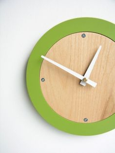 apple green modern wall clock by uncommon on Etsy, $42.00