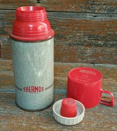 Vintage Thermos, Vintage Flask, Lunchbox Thermos, Thermos Brand Vacuum Bottle, Made in Canada Thermos, by EmptyNestVintage on Etsy