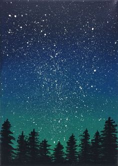 This stunning night sky scene, a perfect addition to a bookshelf or small wall space, features a splattering of stars on a gradient of deep blue and green above silhouetted pine trees. It is painted in artist quality acrylics on a 5x7 stretched canvas, using brushwork accented with splatter paint.    Will be signed and carefully packaged. Please be aware of my studio cats in case of allergies.