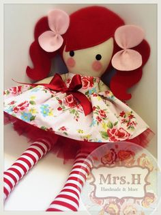 "19"" handmade doll with removable skirt"