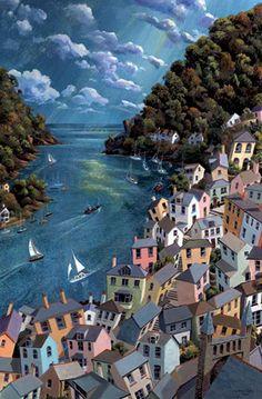 by John Gillo - Rivermouth, Dartmouth, Devon, England Landscape Illustration, Landscape Art, Landscape Paintings, Illustration Art, Devon England, Seaside Art, Design Graphique, Naive Art, Beautiful Artwork