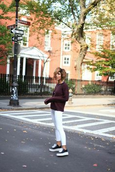 Christina Caradona of Trop Rouge wearing The Drop Shoulder Crew in Crimson Maple and The Harlow in Snowdrift | Enter our Holiday Pinterest sweepstakes here: http://sweeps.piqora.com/AGHoliday14