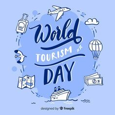 Hand drawn world tourism day with famous landmarks Travel Doodles, Tourism Day, World Days, Sustainable Tourism, Text On Photo, Travel Items, Famous Landmarks, Vector Free, How To Draw Hands