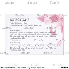 Watercolor Floral Directions Card