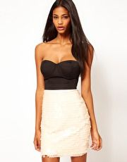 pupLipsy Bandeau Dress With Sequin Skirt