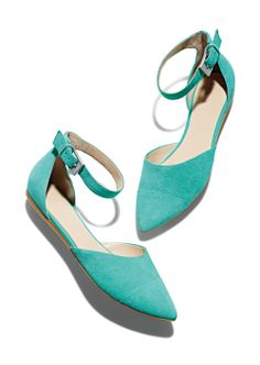 turquoise two-piece ankle strap flats