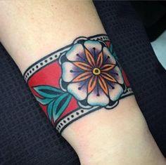 Freshly done band, beginning of oldschool sleeve. what ya think? done by frank s tattoo in warsaw, Cuff Tattoo, Tattoo Bracelet, Arm Band Tattoo, I Tattoo, Hair Tattoos, New Tattoos, Sleeve Tattoos, Tatoos, Tribal Tattoos