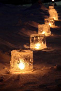 Ice lanterns! I love these my mum makes them every winter!