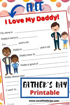 "Instead of buying something for Father's Day this year, take a look at this ""I Love My Daddy"" printable.  You can easily download it, print it and color it from home.  The answers are usually so funny and cute that they've been something my family enjoys looking back on over the years. #fathersday #fatherdayprintable #printable #printables #homemadegift #fathersdayprintables #homemadegifts #diy #preschoolactivity #preschoolactivities #kidsactivities #kidsactivity #writingactivity #homeschool"