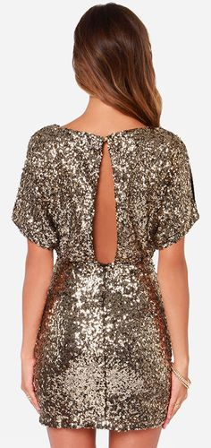 Limited Edition Rose Gold Sequin And Fringe Mini Dress