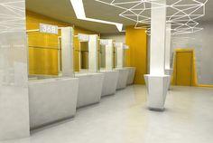 Bank Interieur / Bank Interieur von Patrycja Apostel, via Behance - Office - Pharmacy Design, Restroom Design, Retail Design, Bank Interior Design, Interior Decorating, Corporate Design, Banks Office, Toilette Design, Reception Design