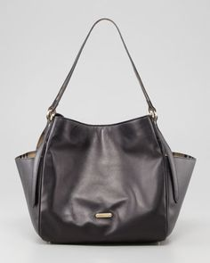 Small Leather Tote Bag with Pockets, Black by Burberry at Neiman Marcus.