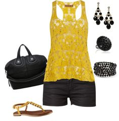 """""""Black & yellow"""" by mtoomey on Polyvore"""