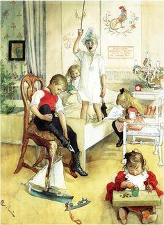 Los hijos de Car Larsson (Estocolmo, 28 de mayo de 1853- Falun, 22 de enero de 1919)  disfrutando de su casa